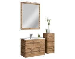 Komplet mebli łazienkowych z serii Beta dąb szafki, lustro oraz umywalka 80 cm
