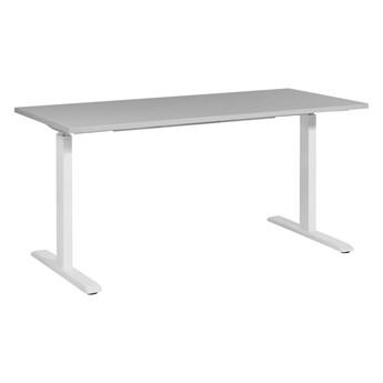 Regulowane biurko szary drewniany blat biała stalowa rama elektryczna zmiana wysokości 180 x 80 cm nowoczesny design