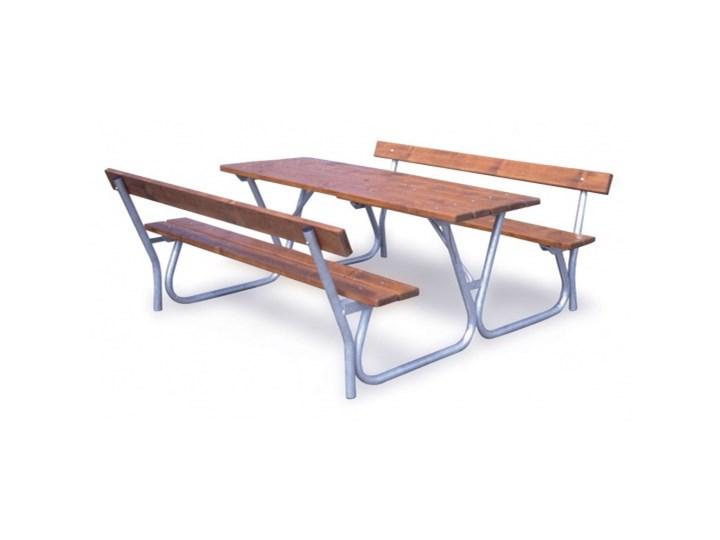 Stół z ławkami i oparciami Długość 120 cm Zintegrowane ze stołem Stal Kategoria Ławki ogrodowe