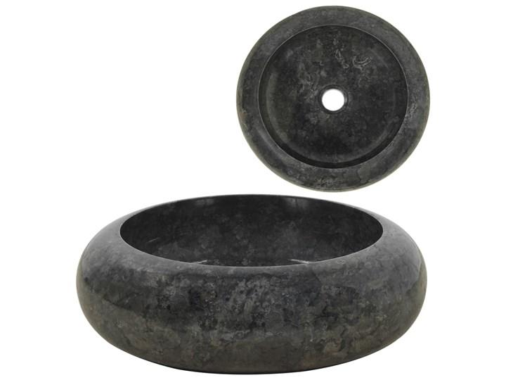 vidaXL Umywalka, 40 x 12 cm, marmurowa, czarna Okrągłe Kamień naturalny Szerokość 40 cm Kolor Czarny