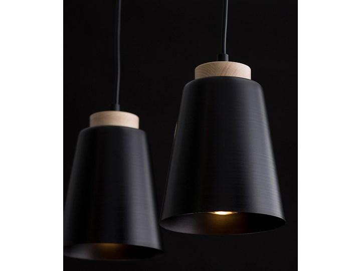 BOLERO 2 BLACK 442/2 wisząca lampa styl skandynawski drewno czarna Lampa z kloszem Metal Lampa LED Styl Nowoczesny
