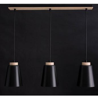 BOLERO 3 BLACK 442/3 wisząca lampa styl skandynawski drewno czarna