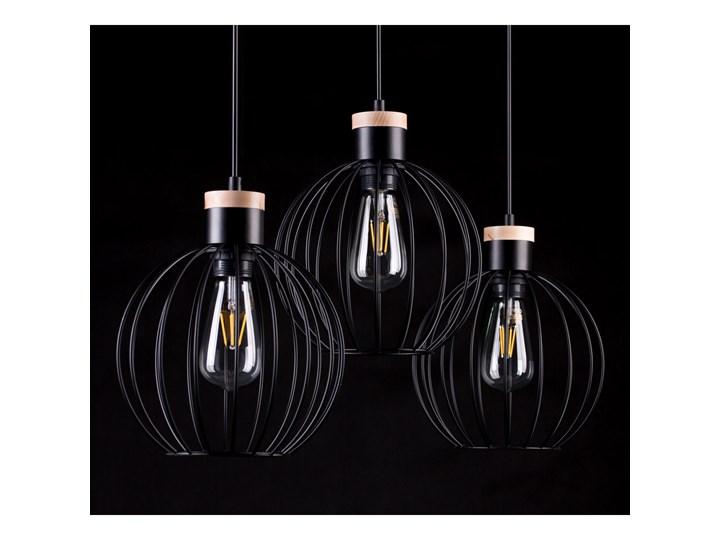 BARBADO 3 BLACK 754/3 lampa wisząca loft skandynawska drewno Kategoria Lampy wiszące Lampa druciana Metal Styl Industrialny