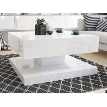 Kwadratowy stolik w wysokim połysku Gemin 80x80 biały