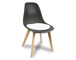 Nowoczesne krzesło na drewnianych bukowych nogach stylowe do jadalni ciemno szare 010 TS + biała nakładka UC62907