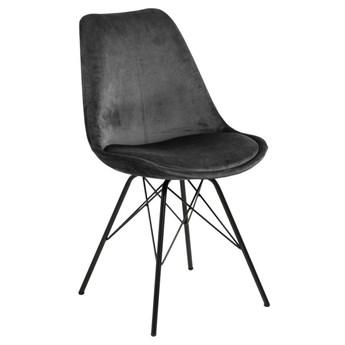 Aksamitne krzesło z poduszką na czarnych nogach Ross Vic