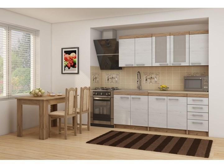 Meble kuchenne Milo - zestaw 2 : Czas dostawy - 1-3 tygodnie, Kolor blatu - chip piasek, Kolor frontu - craft biały, Kolor korpusu - craft złoty