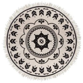 Dywanik dekoracyjny w stylu boho, biało-czarna kolorystyka, Ø 120 cm