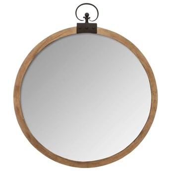 Lustro ścienne, okrągłe, dekoracyjne w drewnianej oprawie, Ø 74 cm