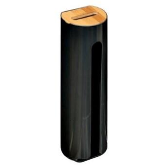 Pojemnik na płatki kosmetyczne, dozownik z bambusową pokrywką, kolor czarny