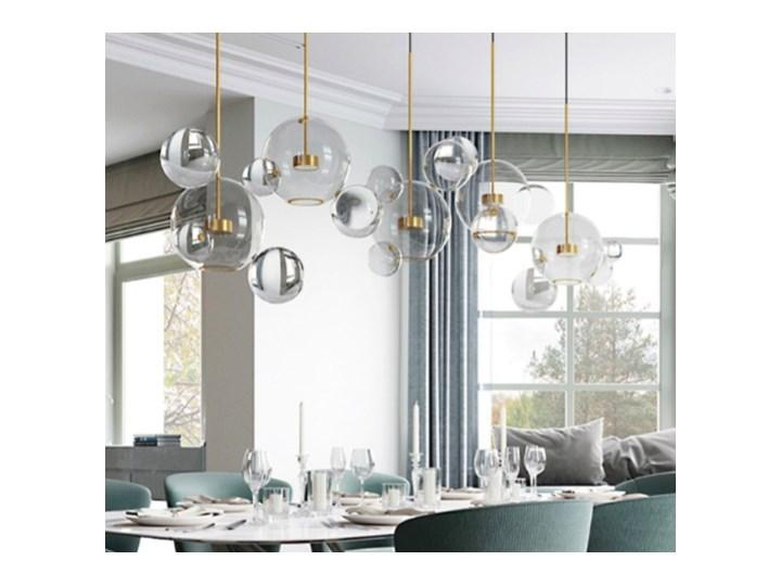 Bubble 4 - duża nowoczesna lampa wisząca - pączkujące szklane kule Szkło Lampa kula Metal Mosiądz Lampa z kloszem Styl Nowoczesny