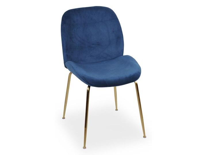 Krzesło Joan niebieski aksamit  / złoty Tkanina Szerokość 49 cm Welur Głębokość 63 cm Tapicerowane Metal Wysokość 85 cm Styl Industrialny