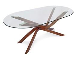 Stół szklany hartowany owalny do salonu na drewnianych nogach duży S201 - 180x100