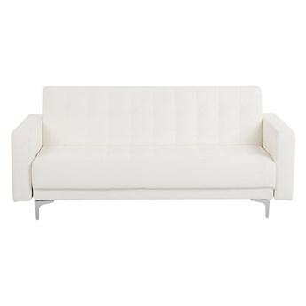 Sofa rozkładana biała ekoskóra trzyosobowa pikowana kanapa modułowa do salonu z funkcją spania