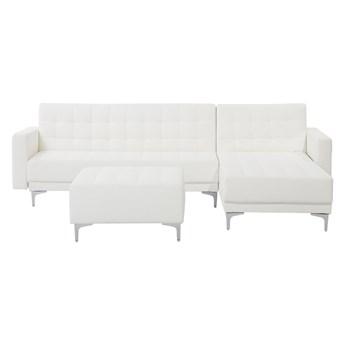 Narożnik rozkładany biały ekoskóra modułowy 4-osobowy z otomaną nowoczesna pikowana sofa do salonu z szezlongiem lewostronna