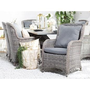 Zestaw foteli szary rattanowy z poduchami ogrodowy zewnętrzny
