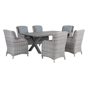 Zestaw ogrodowy szary metalowy 6 krzeseł 1 stół nowoczesny