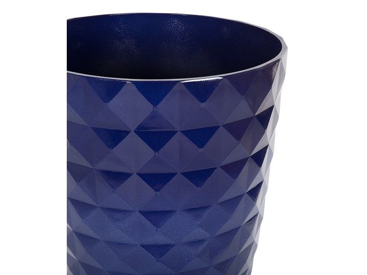 Zestaw dwóch niebieskich doniczek okrągłe dekoracyjne ozdobne salon stolik kawowy sypialnia ogród balkon taras Włókno szklane Doniczka na kwiaty Kategoria Doniczki i kwietniki Kolor Granatowy