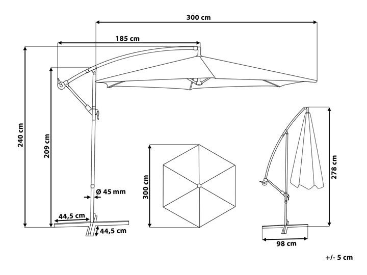Parasol ogrodowy beżowy na wysięgniku Ø300 cm podwieszany ciemnoszara stalowa rama Parasole Kategoria Parasole ogrodowe Położenie nogi Boczne
