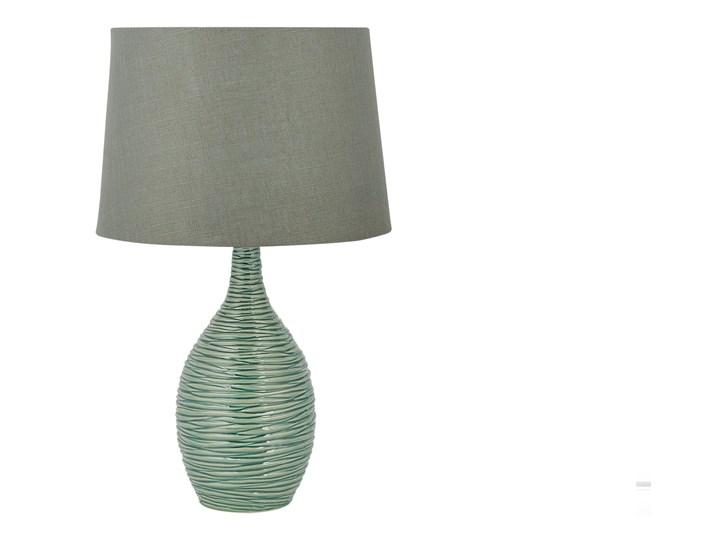Lampa stołowa ciemnozielona ceramiczna 57 cm rzeźbiona podstawa okrągły abażur nowoczesna Lampa z abażurem Lampa nocna Styl Nowoczesny Styl Klasyczny