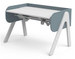 Niebiesk-białe biurko z drewna sosnowego z regulacją wysokości Flexa Woodyo