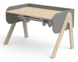 Szaro-brązowe biurko z drewna sosnowego z regulacją wysokości Flexa Woody