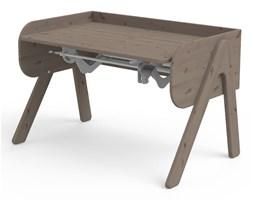 Ciemnobrązowe biurko z drewna sosnowego z regulacją wysokości Flexa Woody