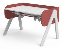 Czerwono-białe biurko z drewna sosnowego z regulacją wysokości Flexa Woody