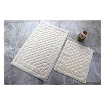 Komplet 2 beżowych bawełnianych dywaników łazienkowych Bambi