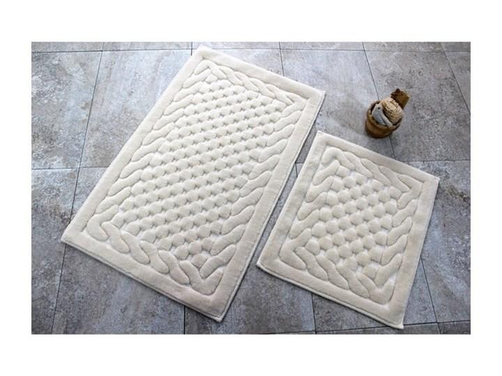 Komplet 2 beżowych bawełnianych dywaników łazienkowych Bambi Bawełna Prostokątny 60x100 cm Kategoria Dywaniki łazienkowe
