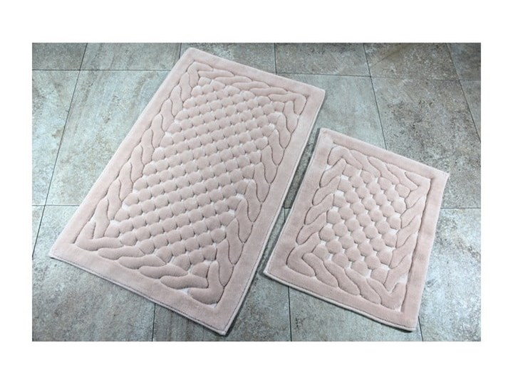 Zestaw 2 dywaników łazienkowych Alessia Bambi Powder 50x60 cm Prostokątny Kategoria Dywaniki łazienkowe 60x100 cm Kolor Beżowy
