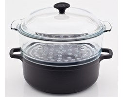 Garnek żeliwny do gotowania na parze CZERŃ -- czarny