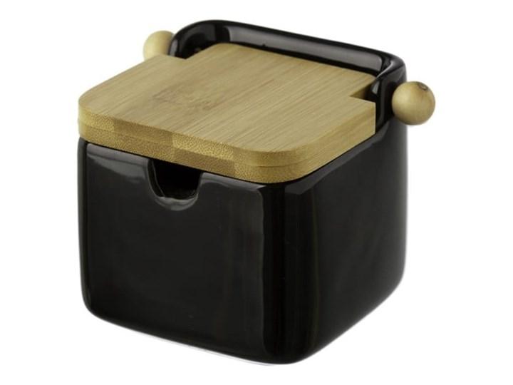 Czarny pojemnik kamionkowy na sól z bambusowym wieczkiem Unimasa 250 ml Drewno Ceramika Typ Pojemniki Na produkty sypkie Kategoria Pojemniki i puszki