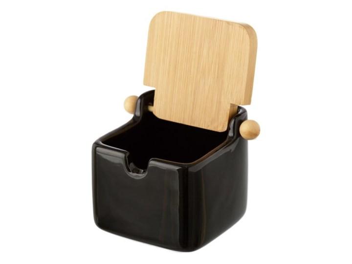 Czarny pojemnik kamionkowy na sól z bambusowym wieczkiem Unimasa 250 ml Typ Pojemniki Ceramika Drewno Na produkty sypkie Kategoria Pojemniki i puszki