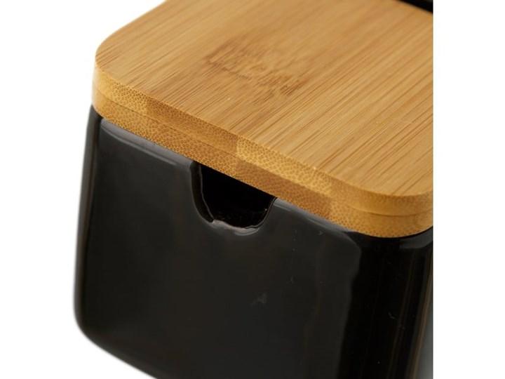 Czarny pojemnik kamionkowy na sól z bambusowym wieczkiem Unimasa 250 ml Drewno Typ Pojemniki Na produkty sypkie Ceramika Kategoria Pojemniki i puszki