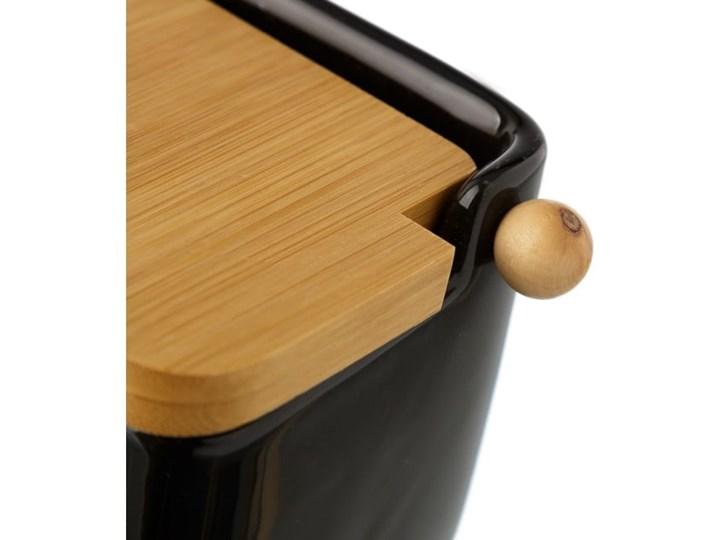 Czarny pojemnik kamionkowy na sól z bambusowym wieczkiem Unimasa 250 ml Na produkty sypkie Drewno Ceramika Typ Pojemniki