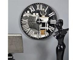 Zegar ścienny, metalowy, lustrzany cyferblat.