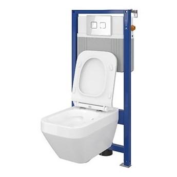 Cersanit Set B24 Aqua 52 Pneu+Crea CleanOn+Deska Wolnoopadająca+Przycisk Accento Aquare Szkło Białe