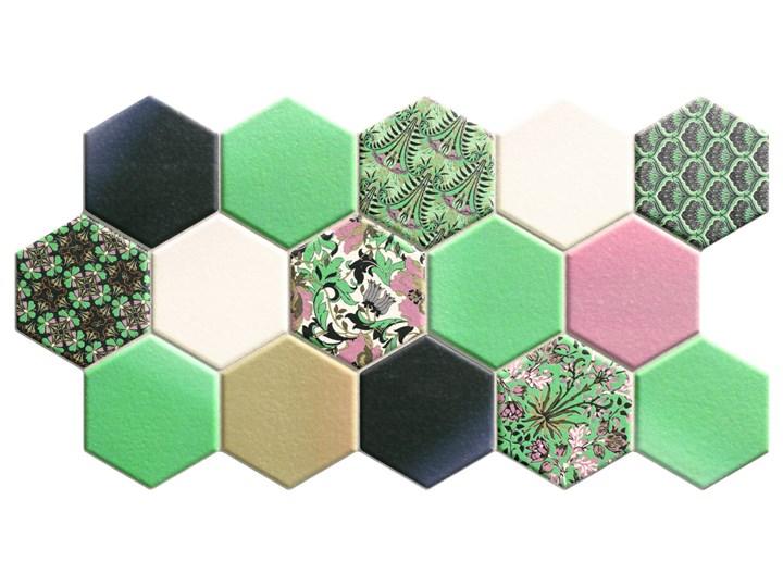 Hex Nouveau Green 26,5x51 heksagony na podłogę 26,5x51 cm Mozaika Płytki ścienne Wzór Nadruk