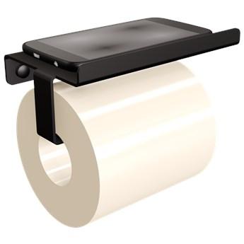 Wieszak na papier toaletowy  z półką  na smartfona czarny