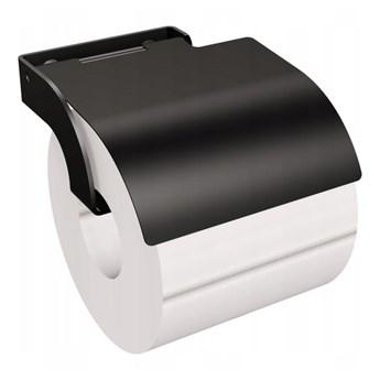 Wieszak na papier toaletowy z osłonką czarny