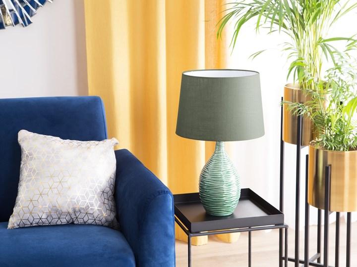 Lampa stołowa ciemnozielona ceramiczna 57 cm rzeźbiona podstawa okrągły abażur nowoczesna Lampa nocna Lampa z abażurem Styl Nowoczesny Styl Klasyczny