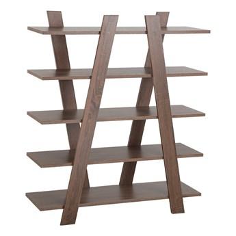 Regał szafka na książki ciemne drewno wolnostojący otwarte półki 100 x 30 x 116 cm Skandynawski design