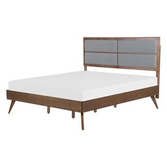 Łóżko ze stelażem ciemne drewno 160 x 200 cm wysokie wezgłowie obite materiałem rustykalny design
