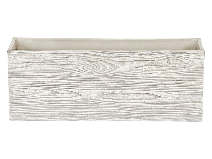 Doniczka biała podłużna 42 x 13 x 15 cm imitacja drewna ogród balkon taras salon sypialnia