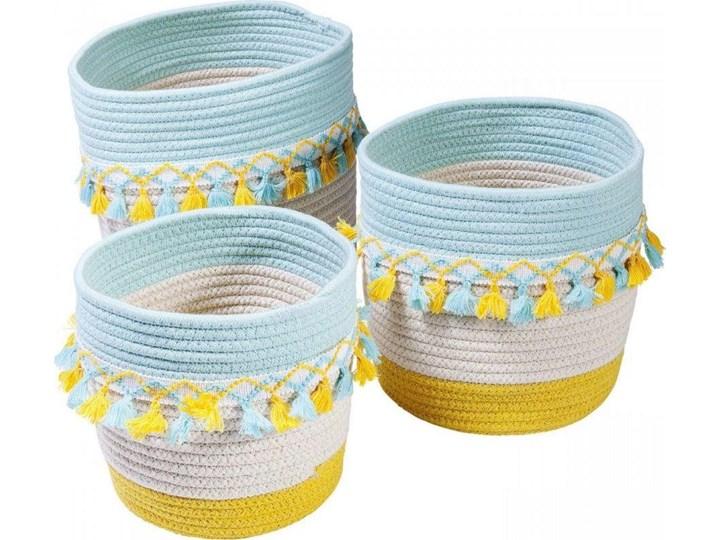 Koszyki Dekoracyjne Z Frędzlami żółto Niebieskie 3set
