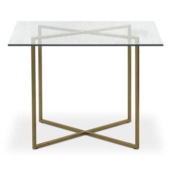 Stół Hex  80 x 80 cm czarny mat szkło transparentne