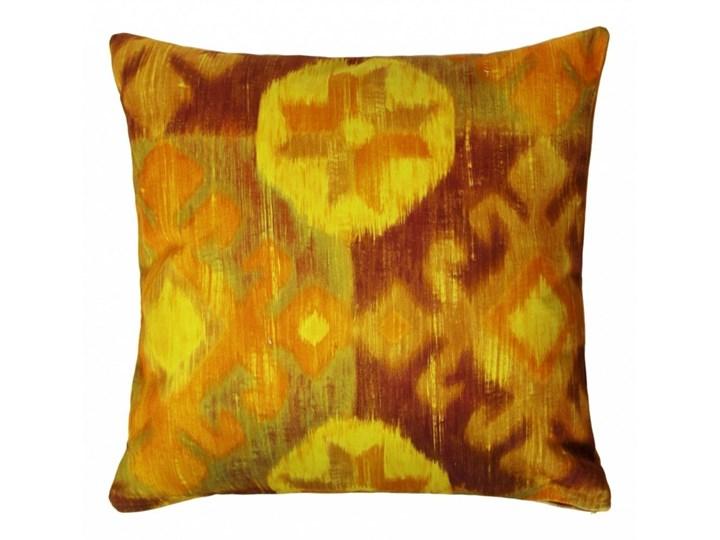 Etno poduszka dekoracyjna 45x45 cm. żółto-brązowa
