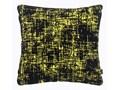 Żółta poduszka dekoracyjna z czarnymi przemazami 45x45 cm.