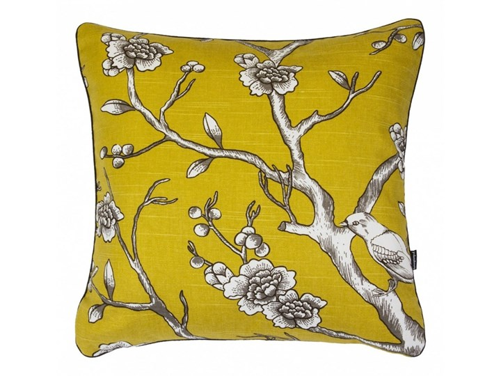 Żółta Poduszka dekoracyjna z gałązkami 45x45